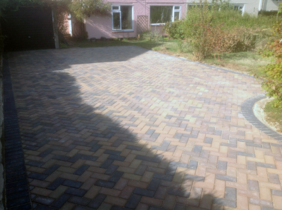 New driveway completed using Marshalls blocks and using a concrete sub base